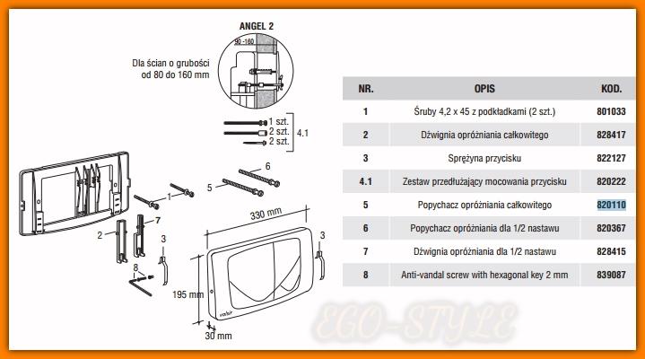 VALSIR 820110 popychacz opróżniania całkowitego spłuczki podtynkowej biały