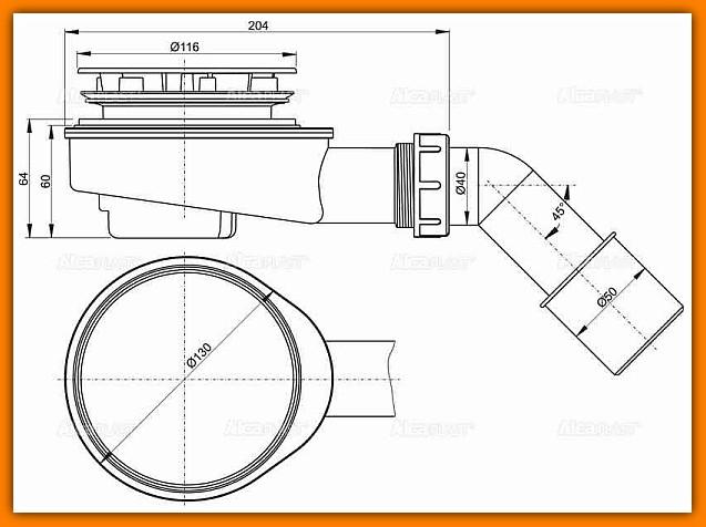 ALCAPLAST syfon brodzikowy A491CR Ø90 mm niski