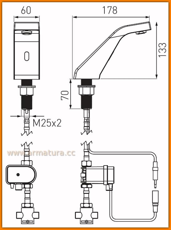 Bateria bezdotykowa umywalkowa Sirocco Sensor Pre-Mixed BBB101M FERRO
