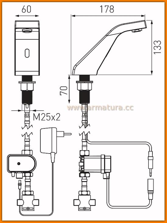 Bateria umywalkowa Sirocco Sensor Power-Safe Pre-Mixed BBB101SM FERRO