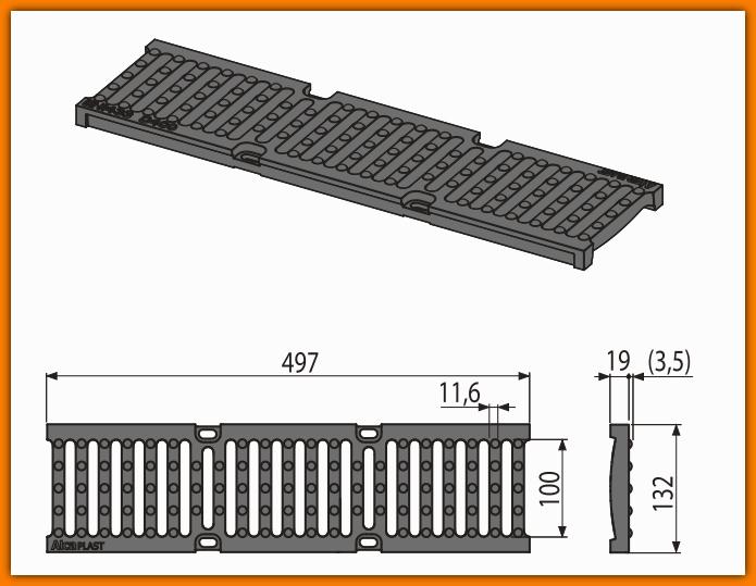 Ruszt AVZ-R201 do odpływu zewnętrznego AVZ103 żeliwny AlcaPLAST