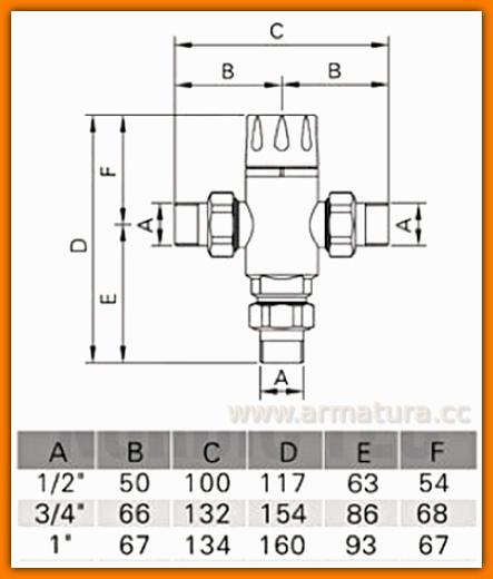 """Mieszacz termostatyczny 3/4"""" SANITLINE ZTT2 zawór regulowany 38-60°C"""