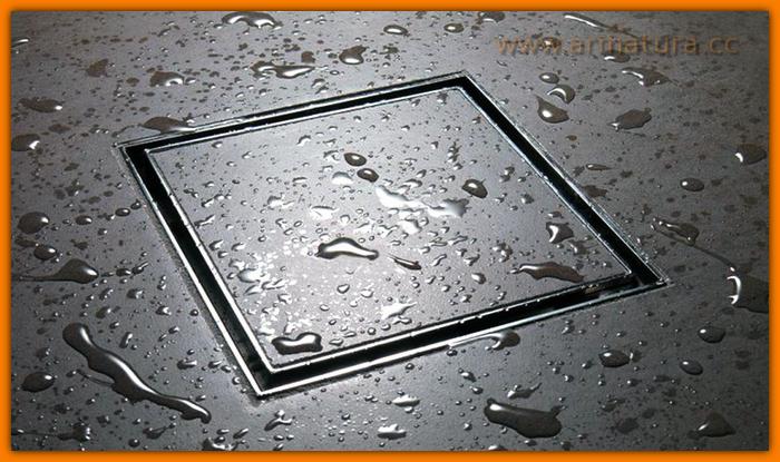 Kratka z pokrywą do zabudowy płytką, kwadratowa, o wym. 200x200 mm, z syfonem metalowym