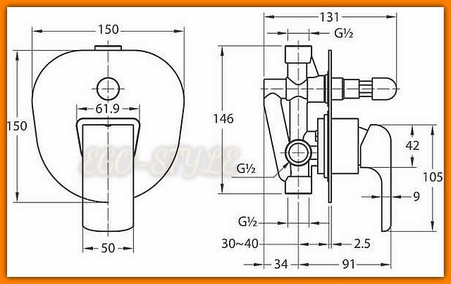 KVADRO 35050R.0 FERRO bateria natryskowa podtynkowa prysznicowa