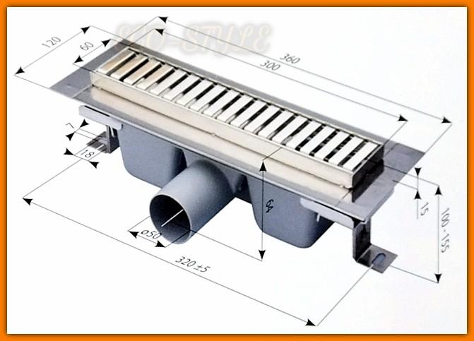 Odpływ łazienkowy MINI APZ1-300 ALCA PLAST 30 cm