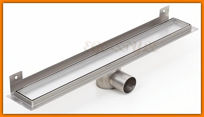 odpływ liniowy do zabudowy płytką z wygiętą flanszą 800KNWF_m KESMET L-80 cm odwodnienie z syfonem metalowym
