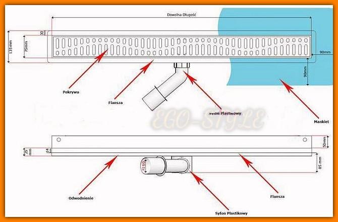 odwodnienie liniowe, 800KWF_p ścienne, odpływ łazienkowy, kesmet
