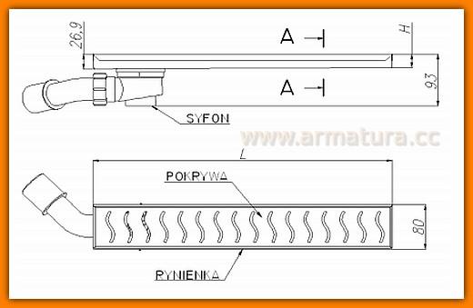 odpływ łazienkowy LORAC CUBE L-70 cm odwodnienie liniowe