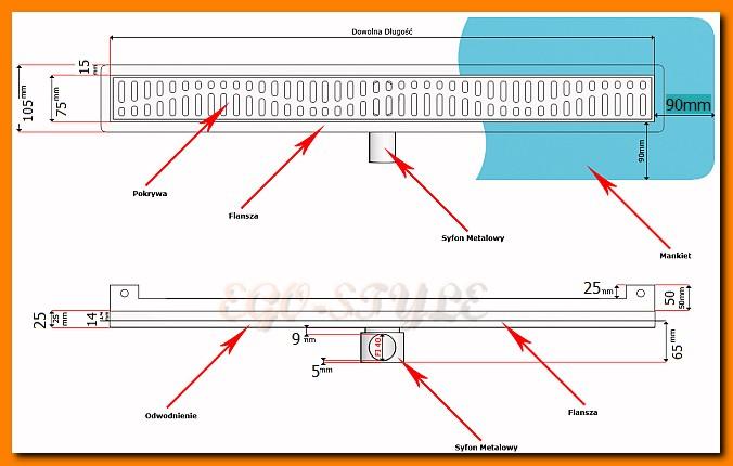 odwodnienie liniowe, 800KNWF_m, ścienne, odpływ łazienkowy, kesmet