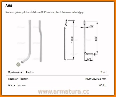 AlcaPLAST A95 Kolano górnopłuka dzielone Ø 32 mm + pierścień uszczelniający