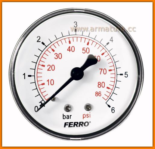 "Manometr 63mm 1/4"" axialny 0-6 bar M6306A FERRO"