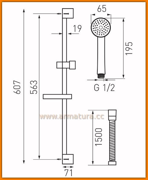 Zestaw natryskowy prysznicowy SIMPLA N120 FERRO