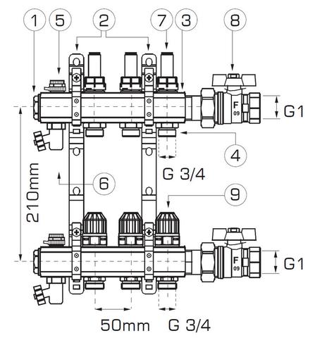 rozdzielacz RZP05 WEBERMAN FERRO do ogrzewania podłogowego