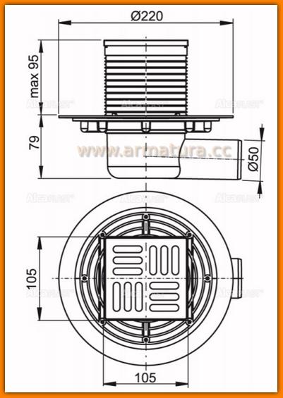 Kratka ściekowa 105x105/50 odpływ boczny APV1321 AlcaPLAST