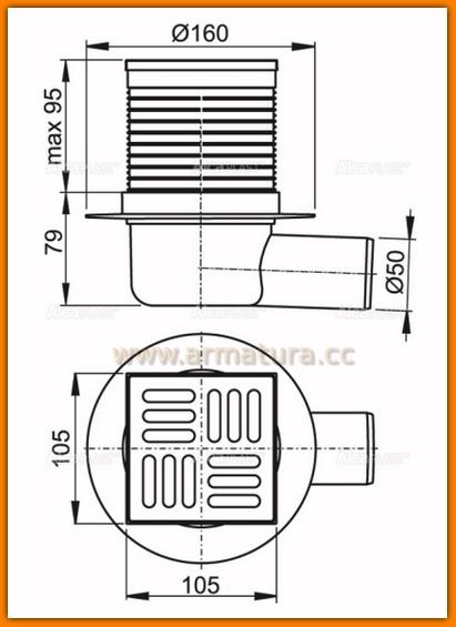 Kratka ściekowa 105x105/50 odpływ boczny APV31 AlcaPLAST