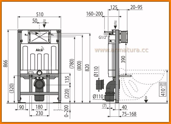 Stelaż podtynkowy WC NISKI AM101/850 mm AlcaPLAST spłuczka